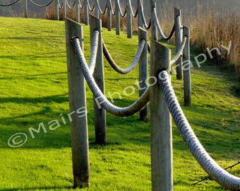 Pattern Rope Fence Grass Cliff Oregon, Original Photograph, Fine Art Photography signed matted 5x7 print