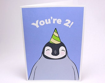 2nd Birthday Card - Kids Second Birthday Card - Penguin