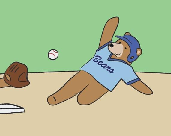 Baseball Children's Art - Bear Nursery Decor - Sports Kids Wall Art