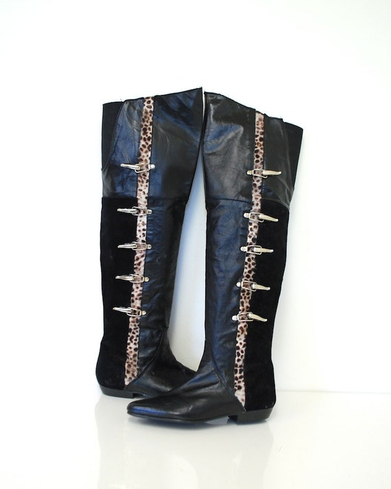 7 / 1980s OTK Leather & Calf Hair Boots