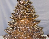 "Solid Gold-22""-24""""Tall- Full Christmas Tree-Light Kit Base-Ceramic-Made to Order"