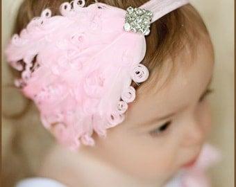 Pink Feather Headband - Baby Feather Headband - Wedding Hairpiece - Nagorie Feather Headband - Feather Head Piece