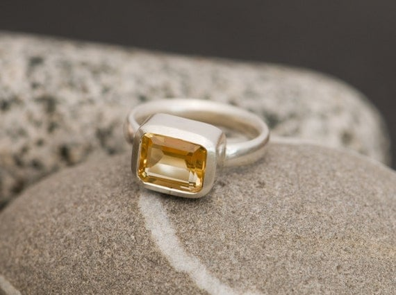Citrine Ring - Emerald Cut Citrine set in Recycled Sterling Silver - Made to Fit and Free Shipping