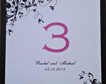 Black White and Fuschia Table Number