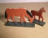 Vintage 1920s 1 Horse and 1 Pony from Erzgebirge Region of Germany. Hand carved. Hand painted. Primitive German Folk Art.