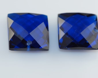 blue sapphire one pairs drilled 14x14mm
