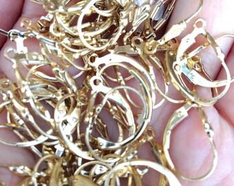 Set of 10 pieces 14k gold filled tulip lever back