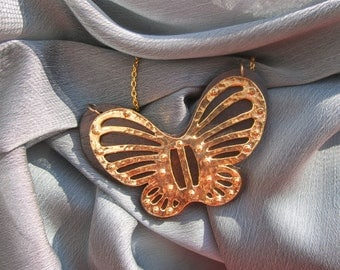 Butterfly Pendant Statement Chain Necklace