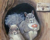 "Custom housewarming gift- Squirrel art print on canvas with hand-painted last name 8""x10"""