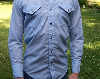 Men's shirt   - Blue  western shirt -western shirt- button down shirt