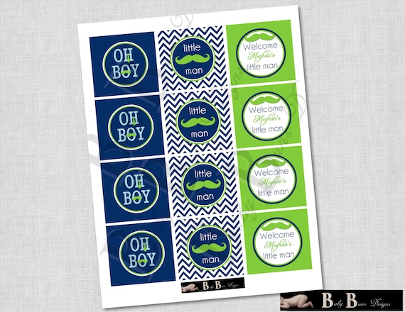 Little Man Moustache & Tie Baby Shower - 2 inch round Cupcake Toppers- Printable or Shipped