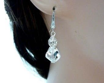 Sales - Bridal Earrings White Clear Swarovski Crystal,  Filigree Crystal Ball  with White Gold plated CZ Earrings