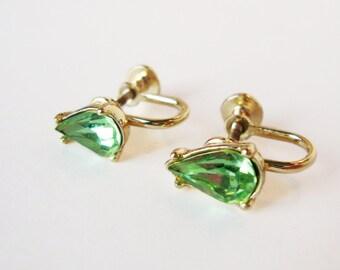 Vintage Gold / Green Earring, Green Rhinestone Earring, Vintage Screw Back Earring