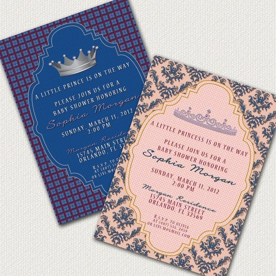 Prince Or Princess Baby Shower Invitations