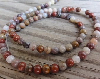 Bamboo Agate Beads -  4mm Round Smooth - Full or Half Strand