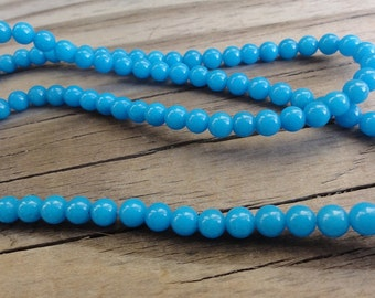 Turquoise Blue Mountain Jade 4mm Beads Round Smooth - 16 inch Full Strand