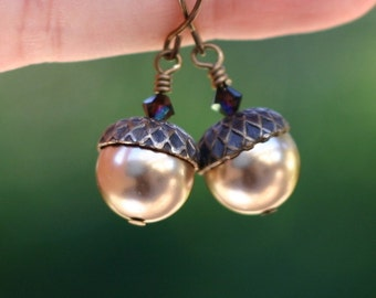 Acorn Earrings - Acorn Jewelry - Brass Acorn Earrings - Pearl Acorn Earrings - Swarovski Acorn Earring - Swarovski Pearl Brass Acorn Earring