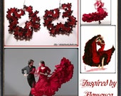 Flamenco style red and black beaded earrings hoops and ruffles
