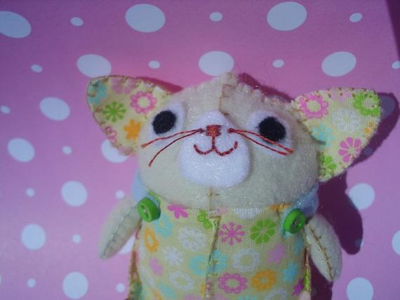 Palm Size Kitty Cat Stuffed Animal Plush Plushie Soft Softie Cute Ooak