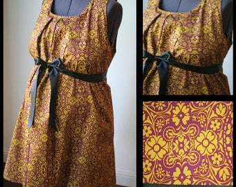 Maternity Hospital Gown- Purple with Gold Floral Print, Black Ribbon (Labor and Delivery Hospital Gown)