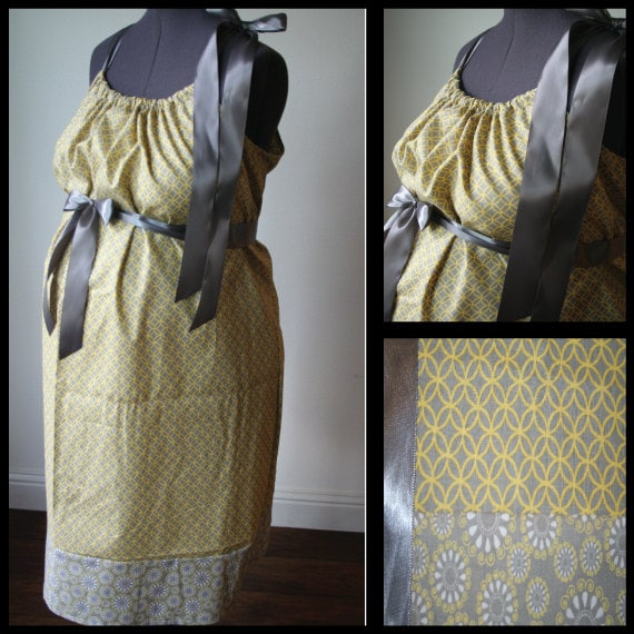Maternity Hospital Gown: Yellow and Gray Circles/ Circle Burst Trim (Labor and Delivery Hospital Gown)