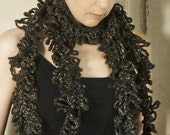 Hand Knit Scarf Chunky Knit Charcoal Grey Crocheted Scarves for Women