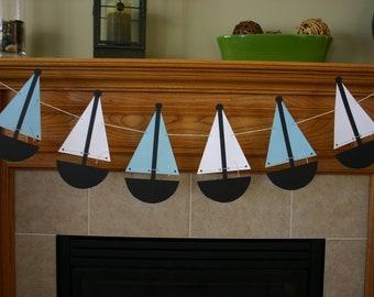 "Paper Pennant Flag Banner- ""Sailboats"""