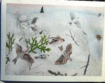 Art Card Redpolls Winter Scene for Winter Solstice