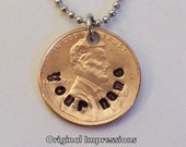 Custom personalized penny pendant necklace made of a genuine U.S. penny on a stainless steel bead chain - personalized just for you.
