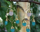 Turquoise and Pink Faceted Glass Teardrop Brass Wire Earrings
