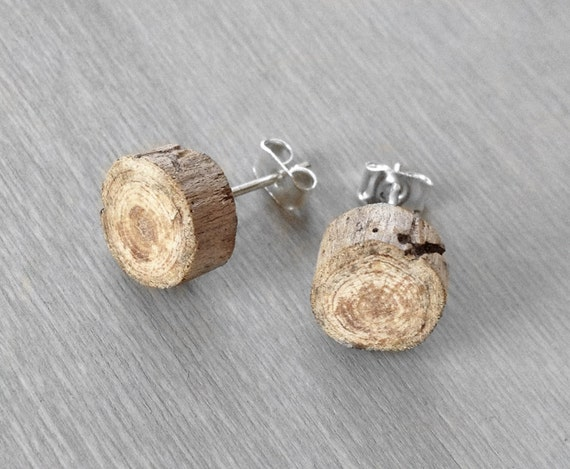 Driftwood Stud Earrings - Petite Wood Post Earrings
