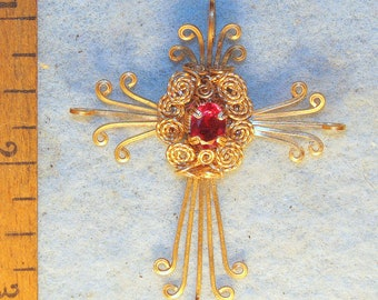 One of a Kind Wire Wrapped Ruby on Gold Filled Wire Wrapped Cross Pendant