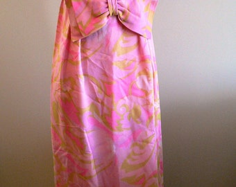 vintage dress ... MAXI 70s Pretty in PINK Dress Town sweet vintage dress .