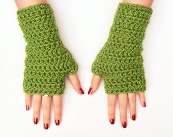 Apple Green Crochet Fingerless Gloves Chunky Adult Mittens
