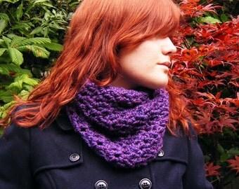 Purple Crochet Cowl Scarf Chunky Autumn Women's Accessory