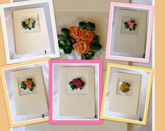Embroidered Greeting Card - Roses, Roses Ribbon Embroidered Card, Roses Greeting Card