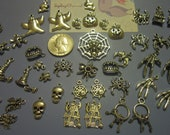 On Sale Now: New 62 pc Halloween Charms Various Skulls,Antique Keys, Ghost, Witch, Haunted House,GothSilvertone & Bronze USA
