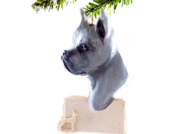 Boxer Christmas ornament - grey boxer personalized ornament - american boxer holiday decor ornament with your boxer name (d84)