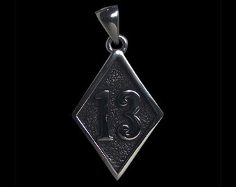 Stainless Steel 13 Bad Luck or Lucky Diamond Face Biker Pendant with a Hammered Background - Free Shipping