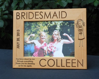 Custom Engraved Bridesmaid Picture Frame: Bridesmaid Gifts, Personalized Bridesmaid Picture Frame, Custom Bridesmaid Gift, Bridal Party