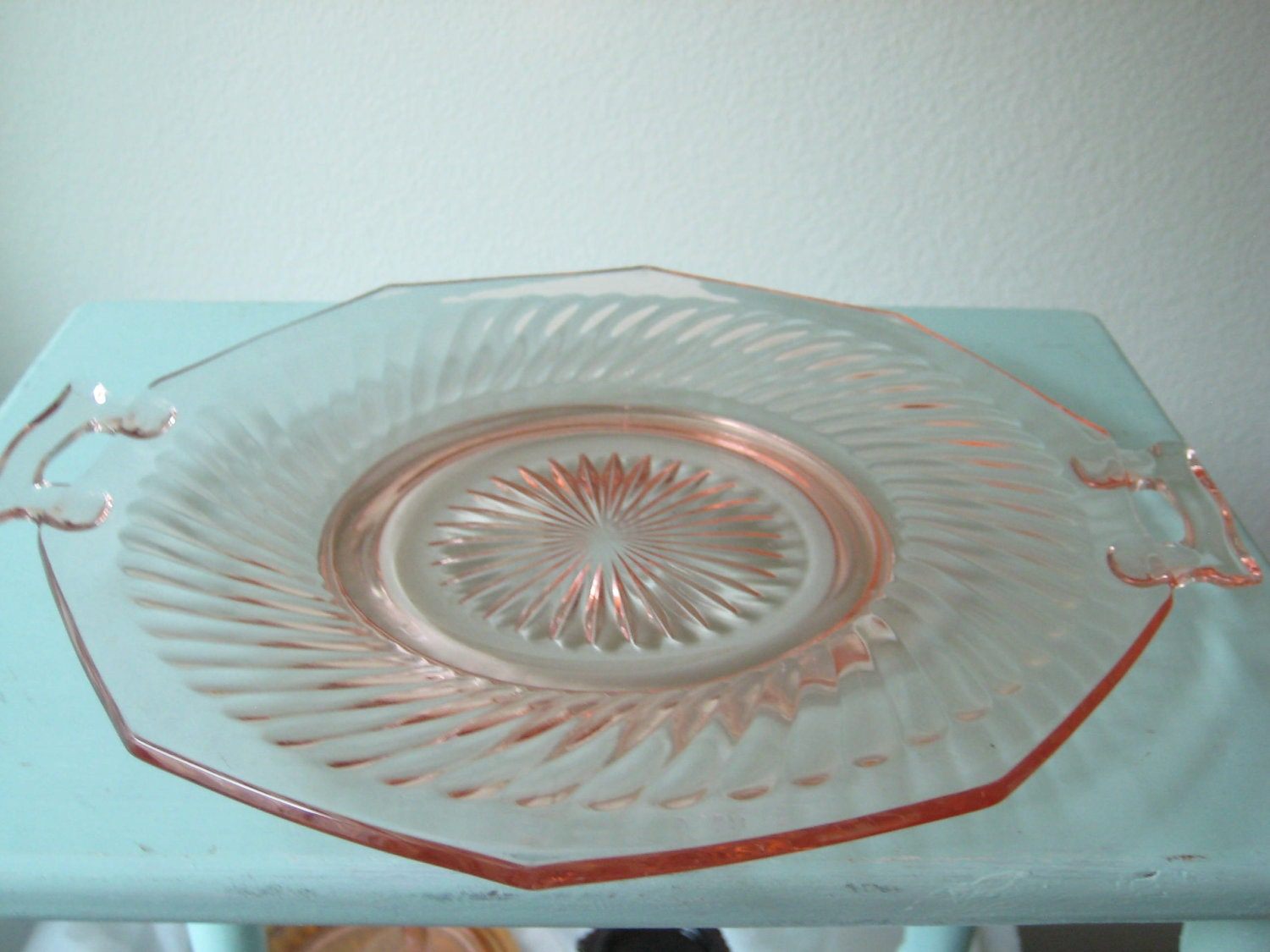 10 5 Inch Depression Glass Cake Plate Vintage Pink Glass