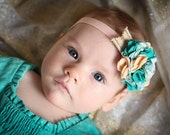 Cyber Monday Sale, Teal and Peach Felt Hydrangea Headband, Photography Prop, Christmas, Holiday