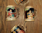 4 Vintage Ceramic Bavarian, Decorative Beer Steins,  Made in Japan, An Instant Collection in Very Good Condition