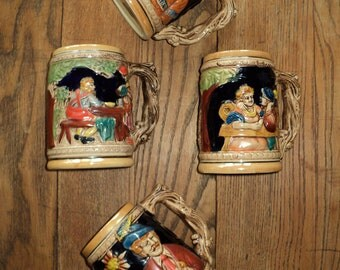 4 Vintage  Handprinted German Beer Steins, Made in Japan, An Instant Collection in Very Good Condition Majolica Style Ceramics, Hand painted
