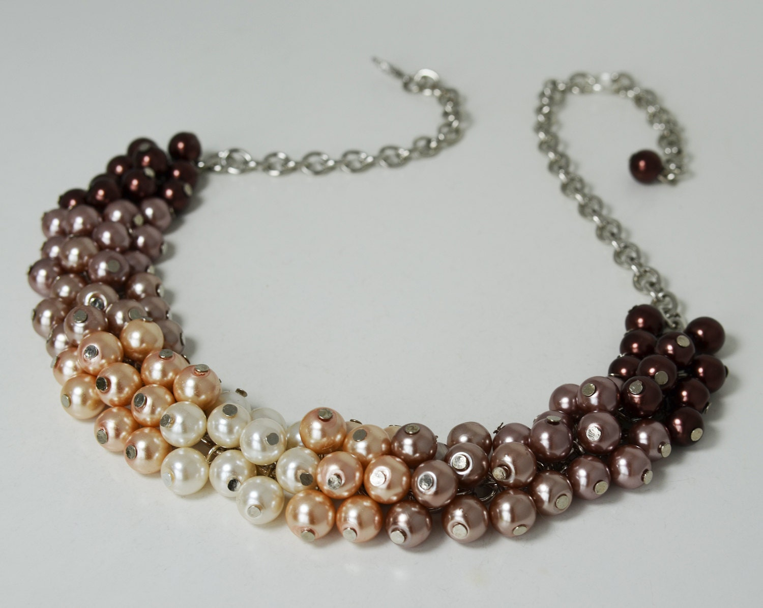 pearl cluster necklace brown ombre cluster necklace shades of