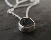 Small Grey Druzy Geode Necklace in Sterling Silver