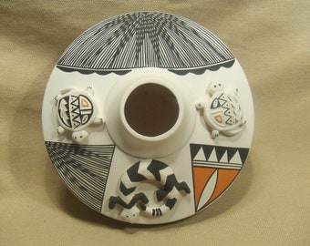 Native American Indian pottery - large Acoma bowl - signed by artist