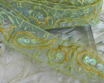 Bright Green Floral Beaded Trim