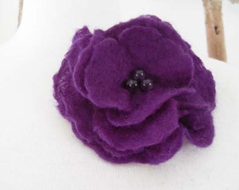 Felt Flower Brooch Pin Brooch Purple Wedding Bridesmaid ideal Gift for her mom