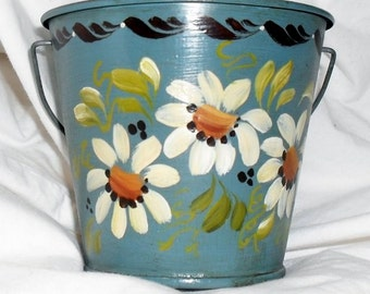 Toleware Bucket Decor Container Organizer Planter Pencil Holder Blue White Flowers SALE